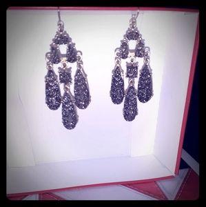 Grey drusy earrings on gold tone